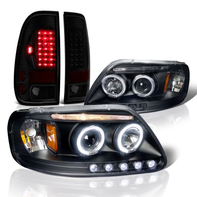 Ford F150 1997-2003 Black Smoked Halo Projector Headlights LED Tail Lights
