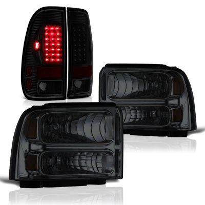 Ford F250 Super Duty 2005-2007 Tinted Headlights Black Smoked LED Tail Lights
