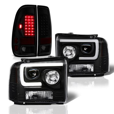 Ford F550 Super Duty 2005-2007 Black DRL Projector Headlights Tinted LED Tail Lights