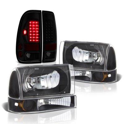 Ford F250 Super Duty 1999-2004 Black Headlights Set Tinted LED Tail Lights
