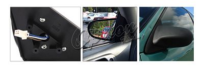Honda Civic Coupe 1996-2000 Black Spoon Style Power Side Mirror