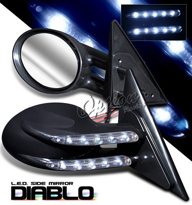 Chevy S10 Pickup 1994-2001 Black Diablo Style Power Side Mirror