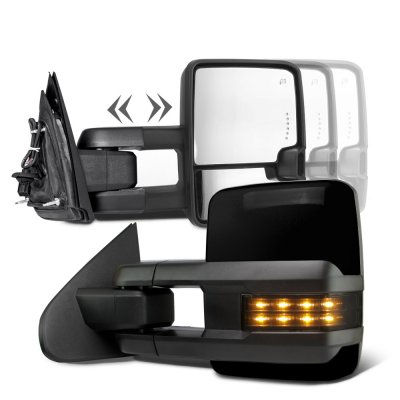 Chevy Silverado 2007-2013 Glossy Black Towing Mirrors Smoked LED Signal Lights Power Heated