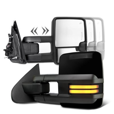Chevy Silverado 2007-2013 Glossy Black Towing Mirrors Smoked LED DRL Power Heated