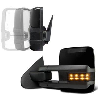 Chevy Silverado 2500HD 2015-2019 Glossy Black Power Folding Towing Mirrors Smoked LED Lights Heated