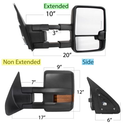 Toyota Tundra 2007-2020 LED Signal Towing Mirrors Power Heated