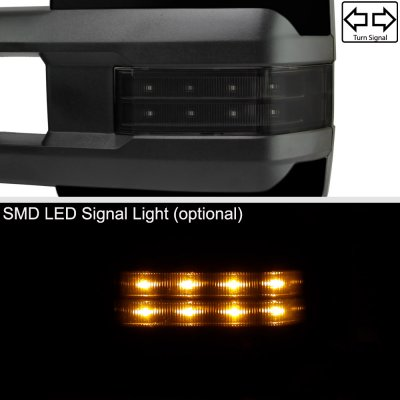 Chevy Silverado 2014-2018 Glossy Black Towing Mirrors Smoked LED Lights Power Heated