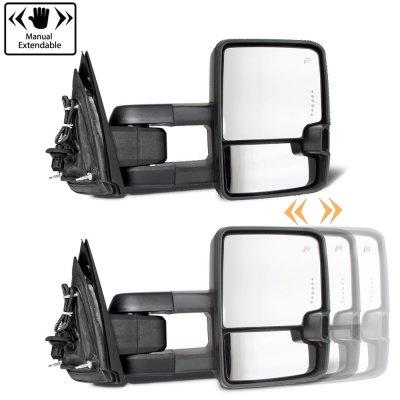 Chevy Silverado 2007-2013 Glossy Black Towing Mirrors Smoked Tube LED Lights Power Heated