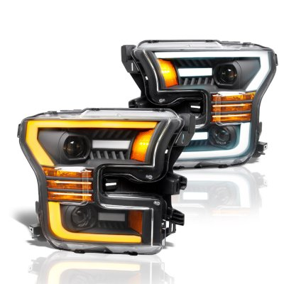Ford F150 2015-2017 Black Projector Headlights Switchback LED DRL Signal Lights