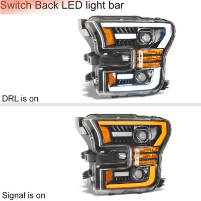Ford F150 2015-2017 Glossy Black Projector Headlights Switchback LED DRL Signal Lights