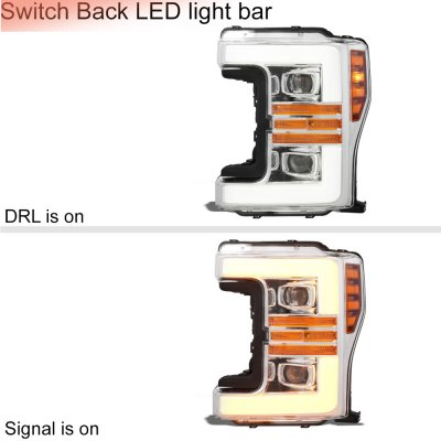 Ford F550 Super Duty 2017-2019 Projector Headlights Switchback LED DRL Dynamic Signal Lights