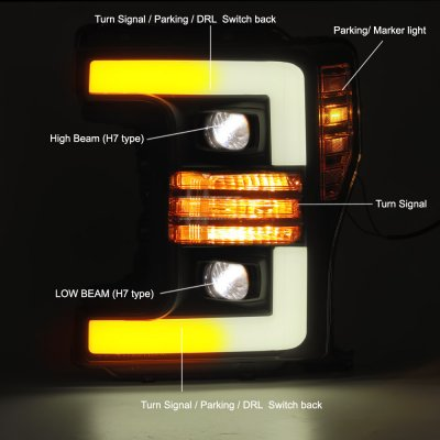 Ford F350 Super Duty 2017-2019 Black Projector Headlights Switchback LED DRL Dynamic Signal Lights