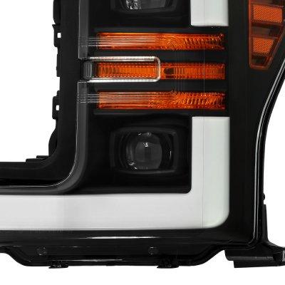Ford F550 Super Duty 2017-2019 Black Projector Headlights Switchback LED DRL Dynamic Signal Lights