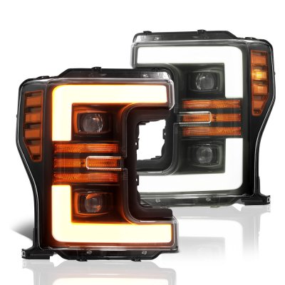 Ford F350 Super Duty 2017-2019 Glossy Black Projector Headlights Switchback LED DRL Dynamic Signal Lights