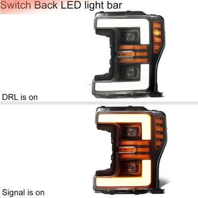 Ford F550 Super Duty 2017-2019 Glossy Black Projector Headlights Switchback LED DRL Dynamic Signal Lights