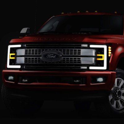 Ford F550 Super Duty 2017-2019 Black Smoked LED Tube DRL Projector Headlights