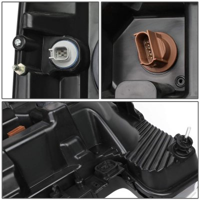 Ford F350 Super Duty 2017-2019 Black LED Tube DRL Projector Headlights