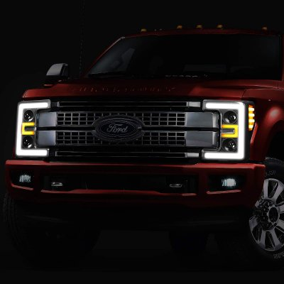 Ford F350 Super Duty 2017-2019 Black LED Tube DRL Projector Headlights