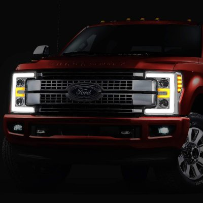 Ford F550 Super Duty 2017-2019 LED Tube DRL Projector Headlights