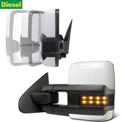 Chevy Silverado 2500HD Diesel 2015-2019 White Power Folding Towing Mirrors Smoked LED Lights Heated