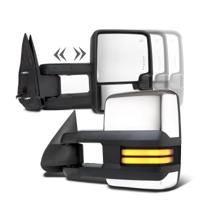 Chevy Silverado 2003-2006 Chrome Towing Mirrors Smoked Tube LED Lights Power Heated