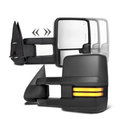 Chevy Silverado 2003-2006 Towing Mirrors Smoked Tube LED Lights Power Heated