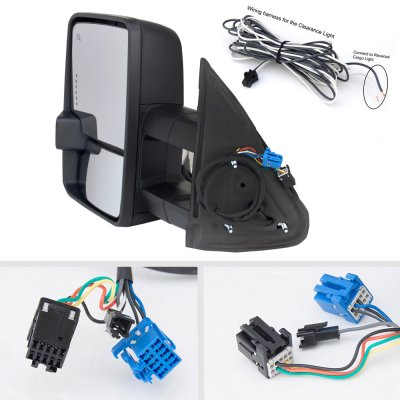 Chevy Silverado 2003-2006 Towing Mirrors Smoked LED DRL Power Heated