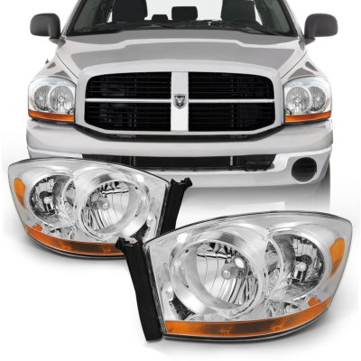 Dodge Ram 2500 2006-2009 Clear Headlights Amber Bar