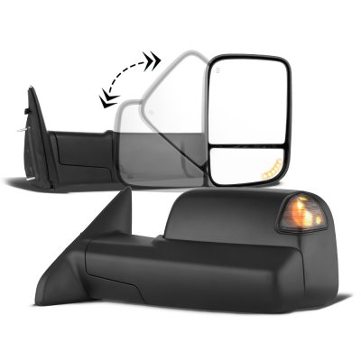 Dodge Ram 1500 2002-2008 New Power Heated Turn Signal Towing Mirrors Smoked Signal Lens