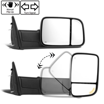 Dodge Ram 2500 2010-2018 Power Heated Turn Signal Towing Mirrors Smoked Signal Lens
