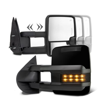 Toyota Tundra 2007-2019 Glossy Black Towing Mirrors Smoked LED Power Heated