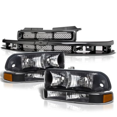 Chevy S10 1998-2004 Black Grille and Headlights Set