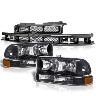 Chevy Blazer 1998-2004 Black Grille and Headlights Set