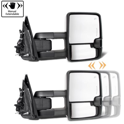 Chevy Silverado 2500HD 2015-2019 White Towing Mirrors Smoked LED DRL Power Heated