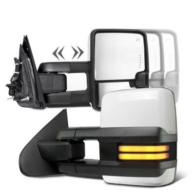 Chevy Silverado 2500HD 2015-2019 White Towing Mirrors Smoked Tube Signal Power Heated