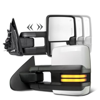 Chevy Silverado 2014-2018 White Towing Mirrors Smoked LED DRL Power Heated