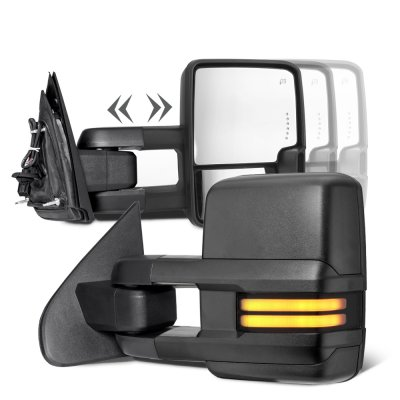Chevy Silverado 2500HD Diesel 2015-2019 Towing Mirrors Smoked Tube Signal Power Heated