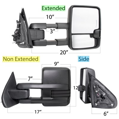 Chevy Silverado 2500HD Diesel 2015-2019 Towing Mirrors Smoked LED DRL Power Heated