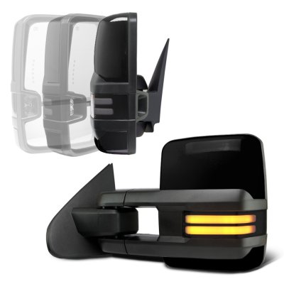 Chevy Silverado 2014-2018 Glossy Black Power Folding Towing Mirrors Smoked Tube Lights