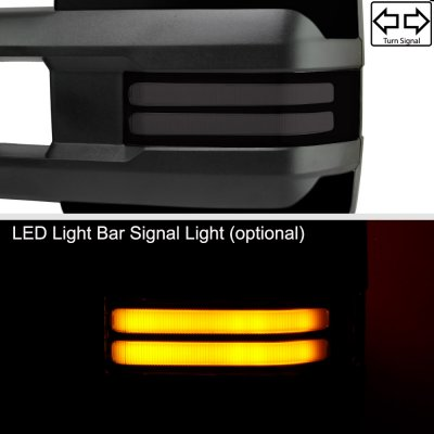 Chevy Silverado 2014-2018 Glossy Black Power Folding Towing Mirrors Smoked LED DRL
