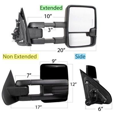 Chevy Silverado 2014-2018 Glossy Black Power Folding Towing Mirrors Smoked Tube Lights