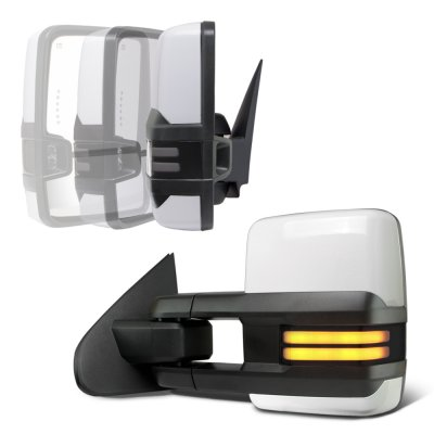 GMC Sierra 2014-2018 White Power Folding Towing Mirrors Smoked Tube Lights