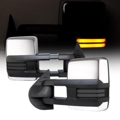 Chevy Silverado 2500HD 2007-2014 Chrome Towing Mirrors Smoked Tube LED Lights Power Heated