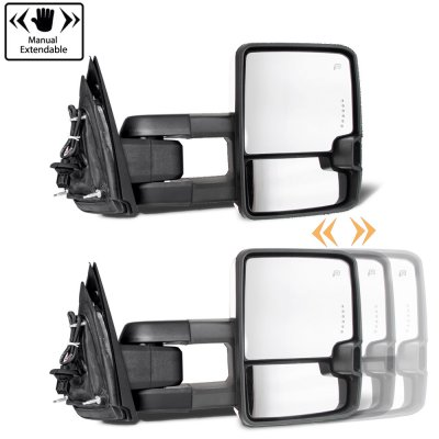 Chevy Silverado 2007-2013 Chrome Towing Mirrors Smoked Tube LED Lights Power Heated