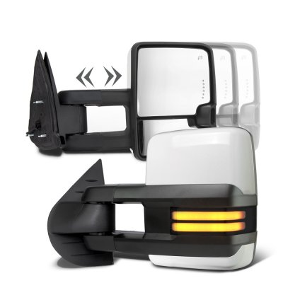 Chevy Silverado 2500HD 2007-2014 White Towing Mirrors Smoked Tube LED Lights Power Heated