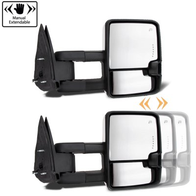 Chevy Silverado 2500HD 2007-2014 White Towing Mirrors Smoked LED DRL Power Heated