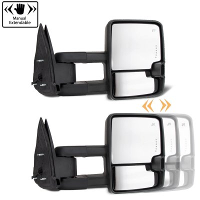Chevy Silverado 2007-2013 Glossy Black Towing Mirrors LED Lights Power Heated