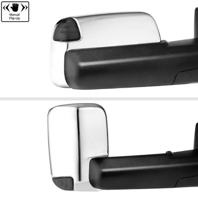 Dodge Ram 1500 2009-2018 Chrome Power Heated Turn Signal Towing Mirrors Smoked Signal Lens