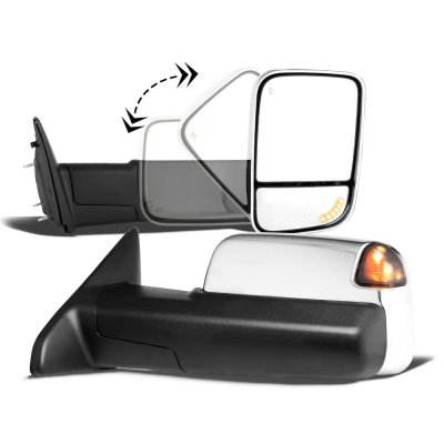 Dodge Ram 3500 2010-2018 Chrome Power Heated Turn Signal Towing Mirrors Smoked Signal Lens