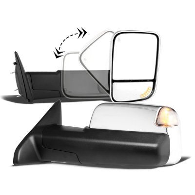 Dodge Ram 1500 2009-2018 Chrome Power Heated Turn Signal Towing Mirrors Clear Signal Lens